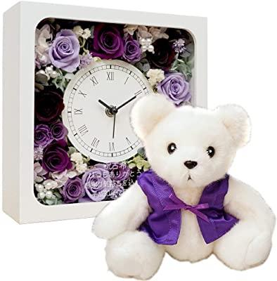 画像: 古希ベアとプリザーブドフラワーの花時計