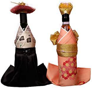 画像: ボトル着物 ボトルカバー 2本用 御祝い (帽子付き)