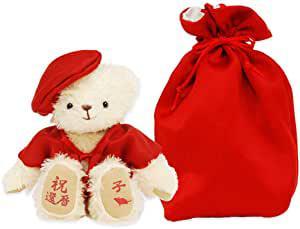 画像: 【プティルウ】還暦に贈る、赤いちゃんちゃんこを着た干支のメモリアルベア(巾着袋)
