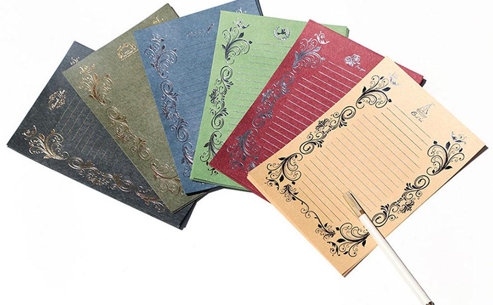画像: レターセット 10枚封筒ろと24枚便箋 厚紙 洋風レトロ高級感