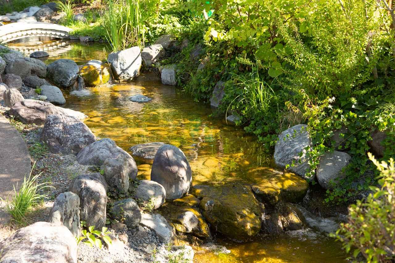 画像: 霊園の中央には小川が流れ、耳心地のよいせせらぎの音は癒しの空間を演出している