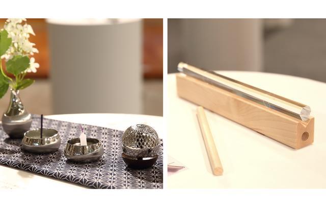 画像: 左:田中貴金属ジュエリー モダン仏具「伝」プラチナ製仏具。プラチナ特有の深い輝きが美しい製品。 右:FROM NOWHERE 「水平鈴」 光学ガラス製のおりん。高い技術で磨かれたガラスは澄んだ音が鳴る。