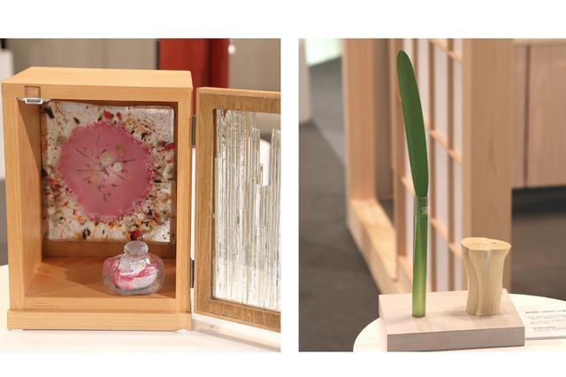 画像: 左:ぎやまん郷 「オルター」 飾りガラスが美しいコンパクトな仏壇。ガラス部分は自分でデザイン・制作することもできる。 右:Haco project 木の幹に遺骨を収納するという作品。同じ木から複数作って、家族と分けることも可能だ。