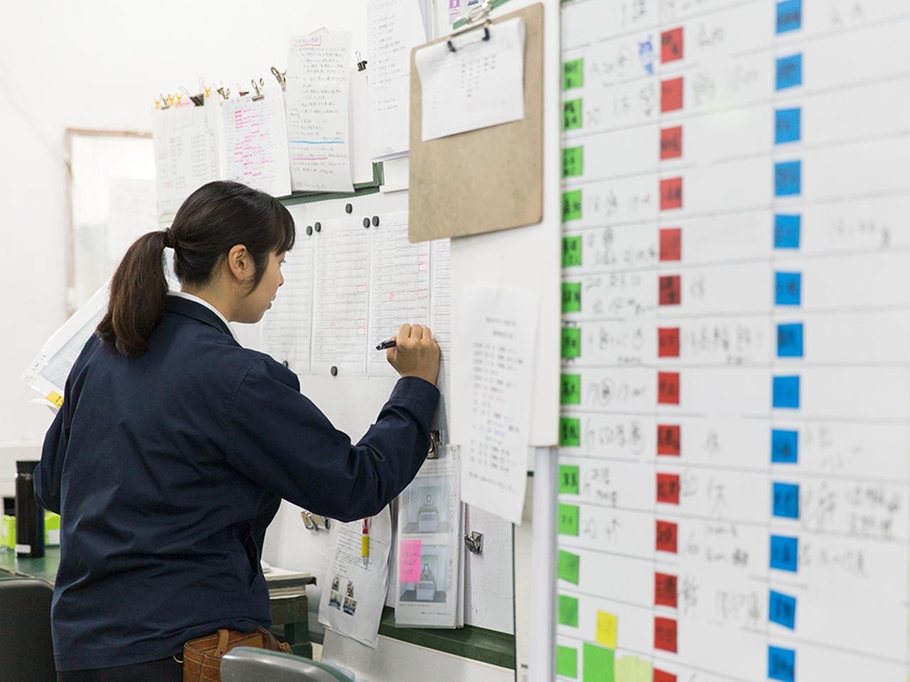 画像: 受注リストの担当案件に製作担当者の名前を書き込む