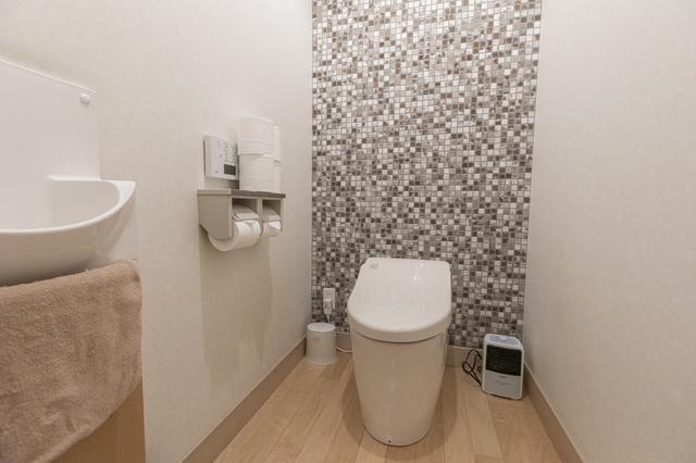 画像: グレーのタイルがセンス良いお手洗い