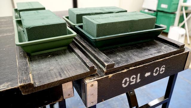 画像: オアシスを並べる自作の板。