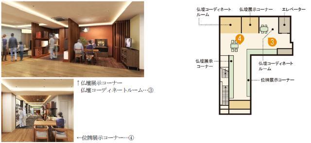 画像: 2階:仏壇コーディネートルーム、仏壇・位牌展示コーナー