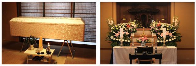 画像: (左写真:納棺イメージ、右写真:後葬・本堂花祭壇プランイメージ)