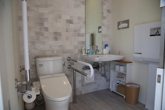 画像: 足腰が不安な方にも使いやすいトイレ。おむつ交換台も設置