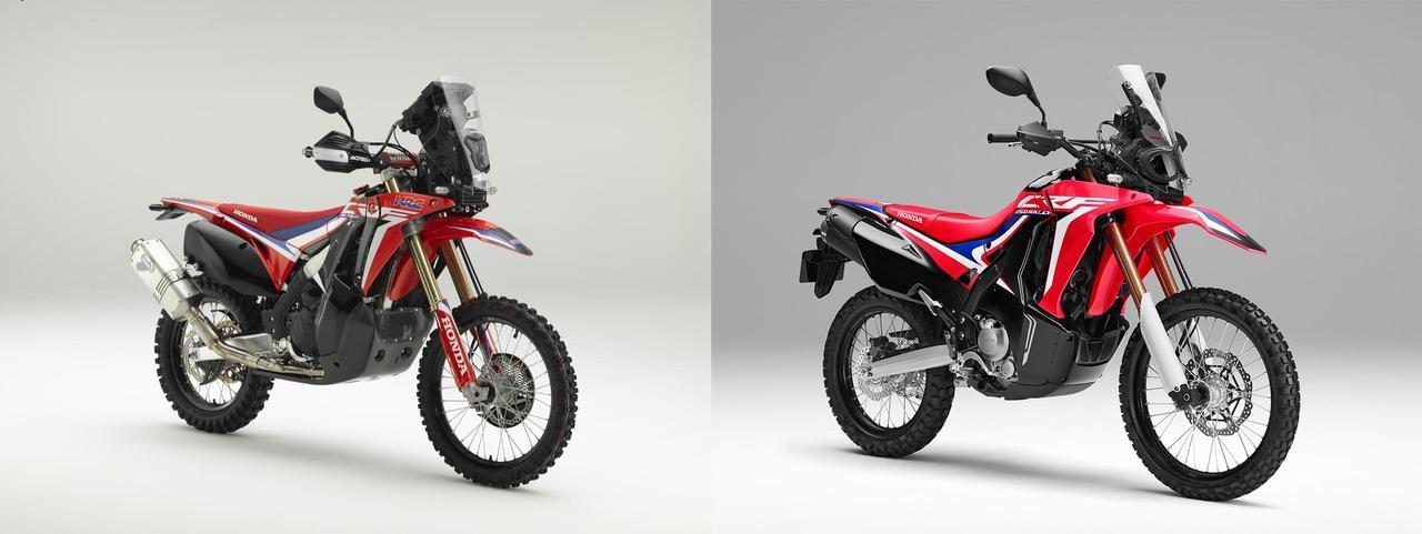 画像: 左:コンセプトモデルCRF450L RALLY、右:CRF250RALLY