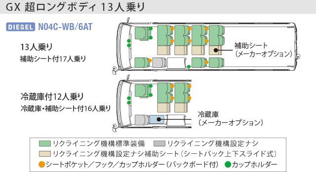 画像: GX(超ロングボディ・13人乗り・6AT車)