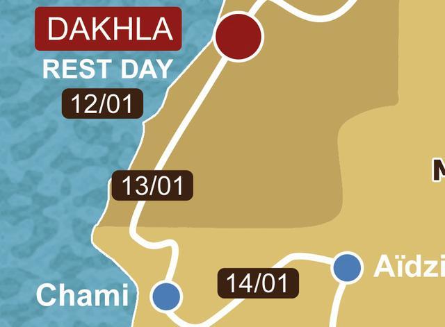 画像: 1月13日(月) ステージ6 モロッコ(西サハラ)-モーリタニア ダクラ~シャミ 559,93km