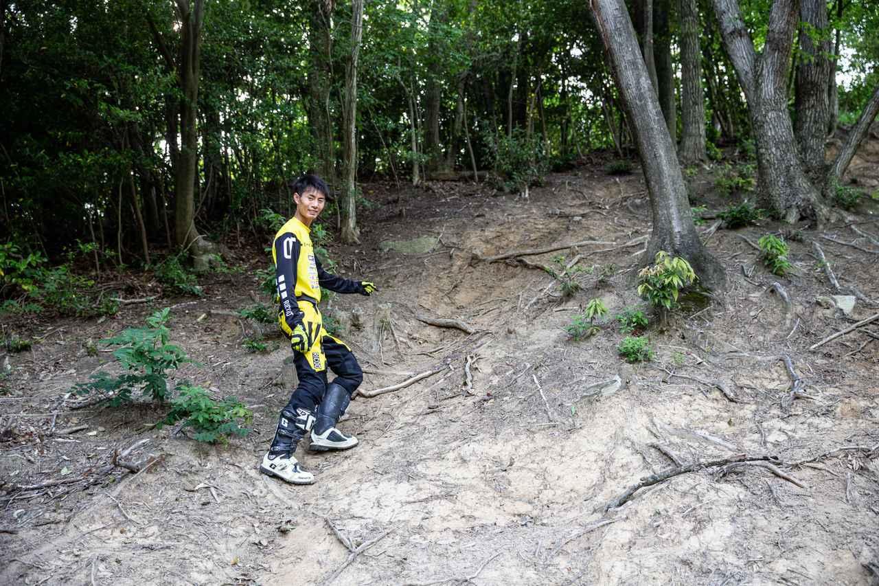 画像1: チャレンジ① スリッピーな木の根がある、ヒルクライム