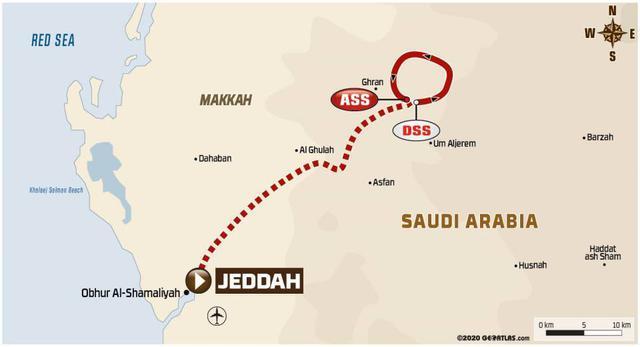画像: ジッダをスタートしてジッダに戻る。DSS:競技区間のスタート地点、ASS:競技区間のゴール地点。