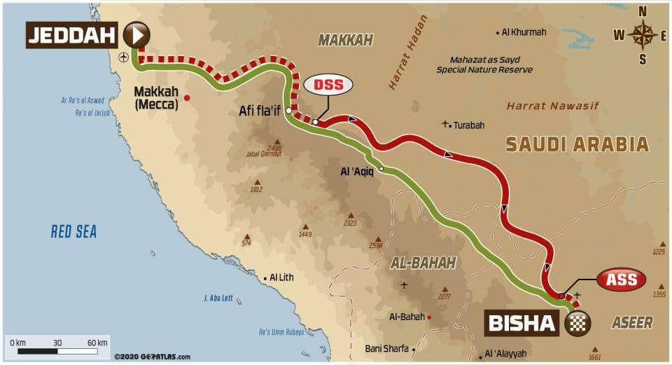 画像: ジッダからビシャへ向かう全行程623km。路面はサンド48% 土49% 小石3%