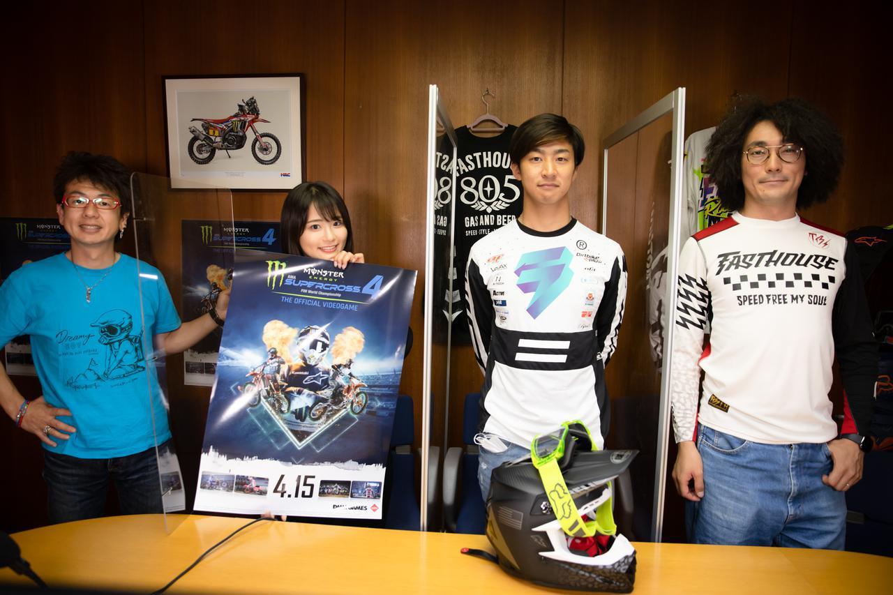 画像: 左から、MCシモさん、平嶋夏海さん、馬場大貴選手。末席を汚しておりますは、Off1,jp編集長ジャンキー稲垣でございます
