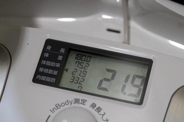 画像: このときの稲垣の状態。増量中だったので、75kgを超えている。体脂肪率はボディメイクしてるというにはちょっと多過ぎ感ある。ここから減量して、今朝は70.8kg/14.2%。5月いっぱいで68kg/12%くらいまで落として腹筋を割ってから、再び増量にはいるプランです。筋肉は、増量期<食べまくって、筋肉をつけまくる。脂肪も一緒についてくる>と減量期<カロリーを抑えて、できるだけ筋肉を落とさないように、脂肪をおとす>を交互にこなし、3歩歩いて2歩下がる方式でつけていくのだ!(僕も3ヶ月前くらいにはじめてしった)