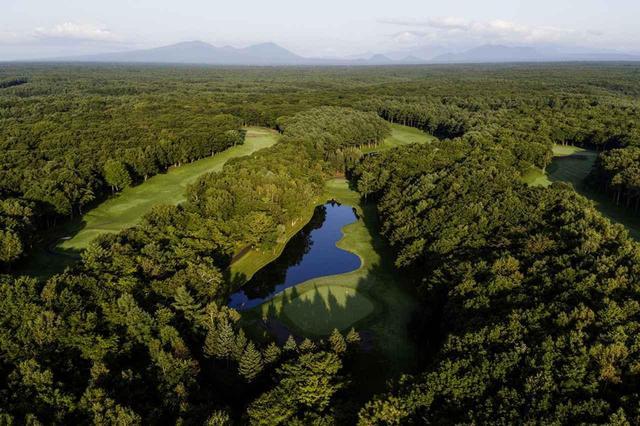 画像: 空から見た、森の中のニスパコース。真ん中の池とグリーンは13番(197Y)パー3