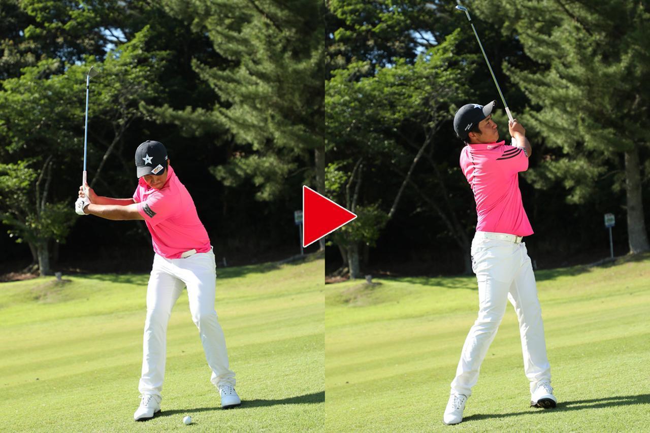 画像: スタンスを取るのも一苦労のライ。左足7割体重のを乗せたまま、フィニッシュを取る意識を持たず傾斜なりにヘッドを動かすことだけに集中