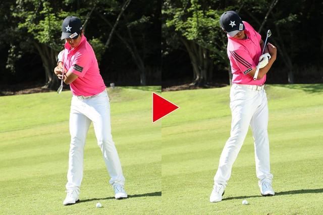 画像: 打ち込まないようにするために、体重移動は意識しない。コマのようにみぞおちを中心にクルッと回転するイメージを持つ