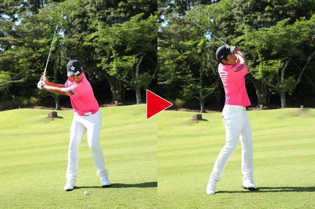 画像: 10ヤード打ち上げに比べ、斜度がきつくなるので、左足6割体重を乗せて8割のスウィングに収める