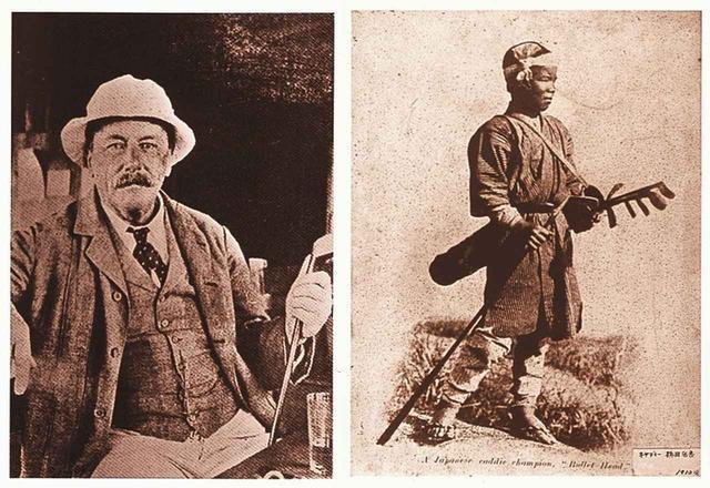 """画像: 明治元年に22歳で来日した貿易商グルーム(写真左)、""""球ひろい""""と呼ばれたキャディは近在の少年達で、このなかからプロが生まれた(写真右)"""