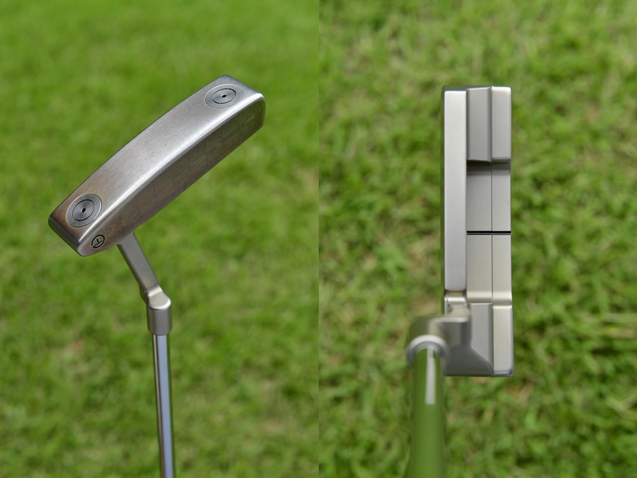 画像: スコッティキャメロン プロトタイプ 名匠スコッティ・キャメロンが小平のために自ら削ったヘッド。見た目は非常にシンプル(写真左)、ヘッドのエッジ部分がしっかり角ばっているため、スクェアに合わせやすい(写真右)