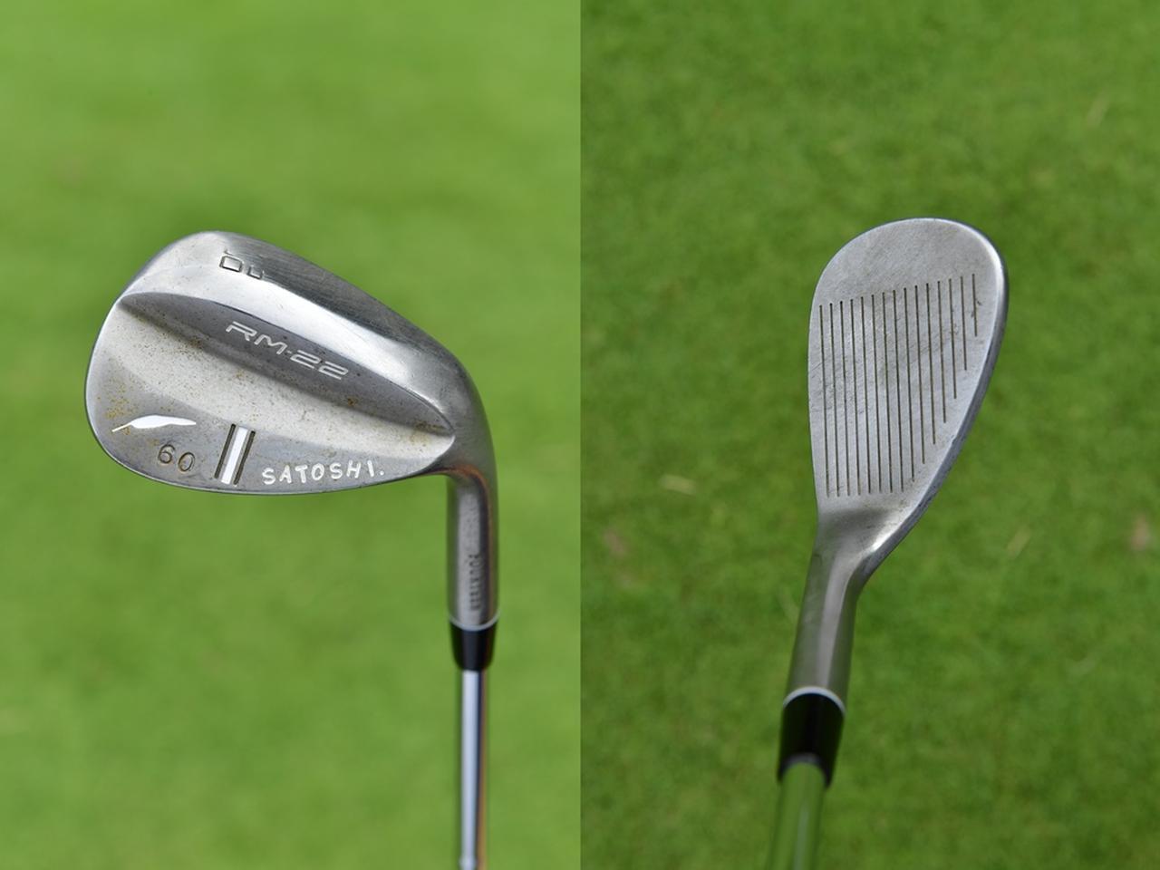 画像: フォーティーンRM-22 バウンスは13度と大きめ。(写真左)トウとヒール方向にも丸みのあるソールを平らに削ることで跳ね方や抜け方が安定する(写真右)