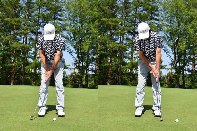 画像: アプローチ同様インパクトでポン!振り幅は左右対称にせず、テークバックよりもフォローを小さく抑えています。このほうが方向性も距離も合わせやすいんです