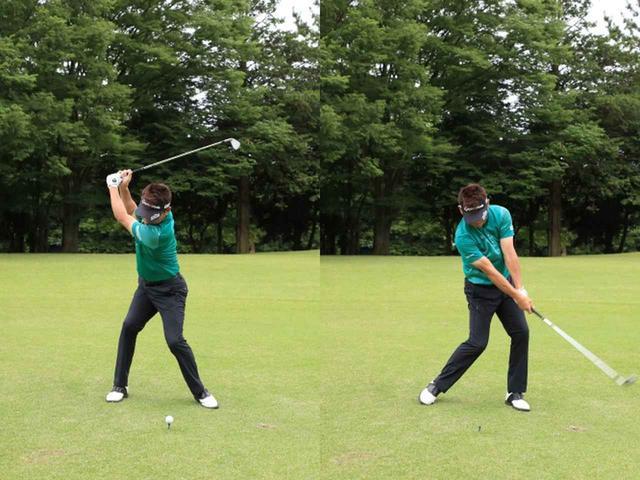 画像: ドライバーのティの高さでボールだけを打つ。ボールに近くタテ振りでトウが下がると、確実にティを打ってしまう。また右手(フェース)の返しが弱いと、右肩が下がりやはりティに当たってしまう