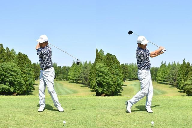 画像: 5.素振りはまーるく振る要領です。手元とクラブが体から離れないように、体の回転でクラブを振ります。体重移動は使わず、その場で回転するイメージです