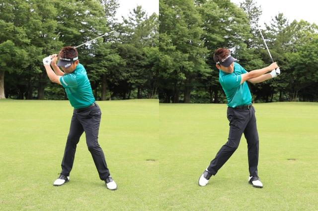 画像: 左に体重を乗せすぎず、少し右に残す感じで振ると、上手くヘッドがターンしますよ