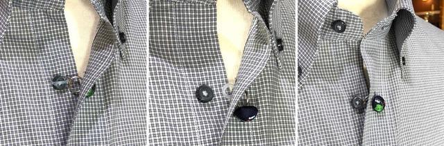 画像: 白いシリコンリングをボタンホールに通して、第二ボタンに掛けるだけの簡単装着。