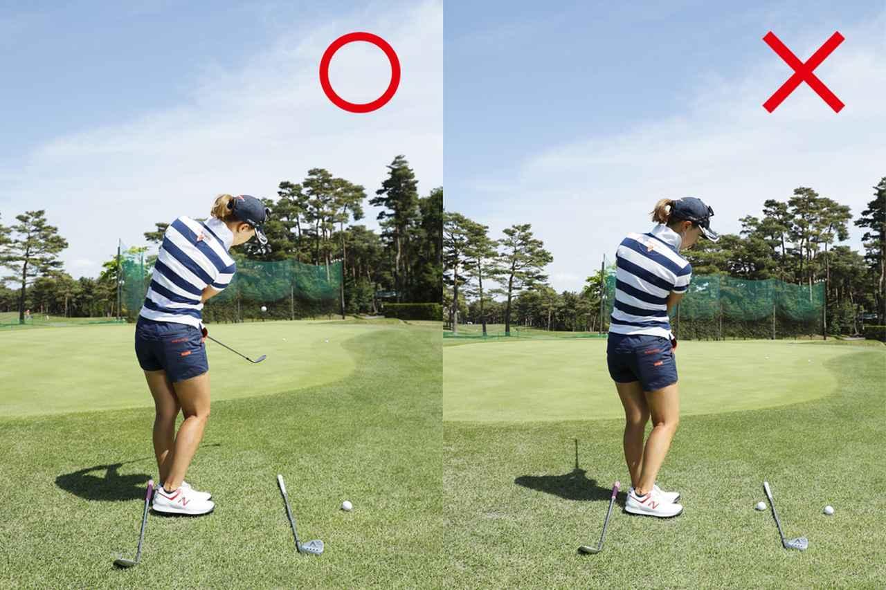 画像: ヘッドは真っすぐ目標に(写真左)、ヘッドがインサイドに入るのは×(写真右)