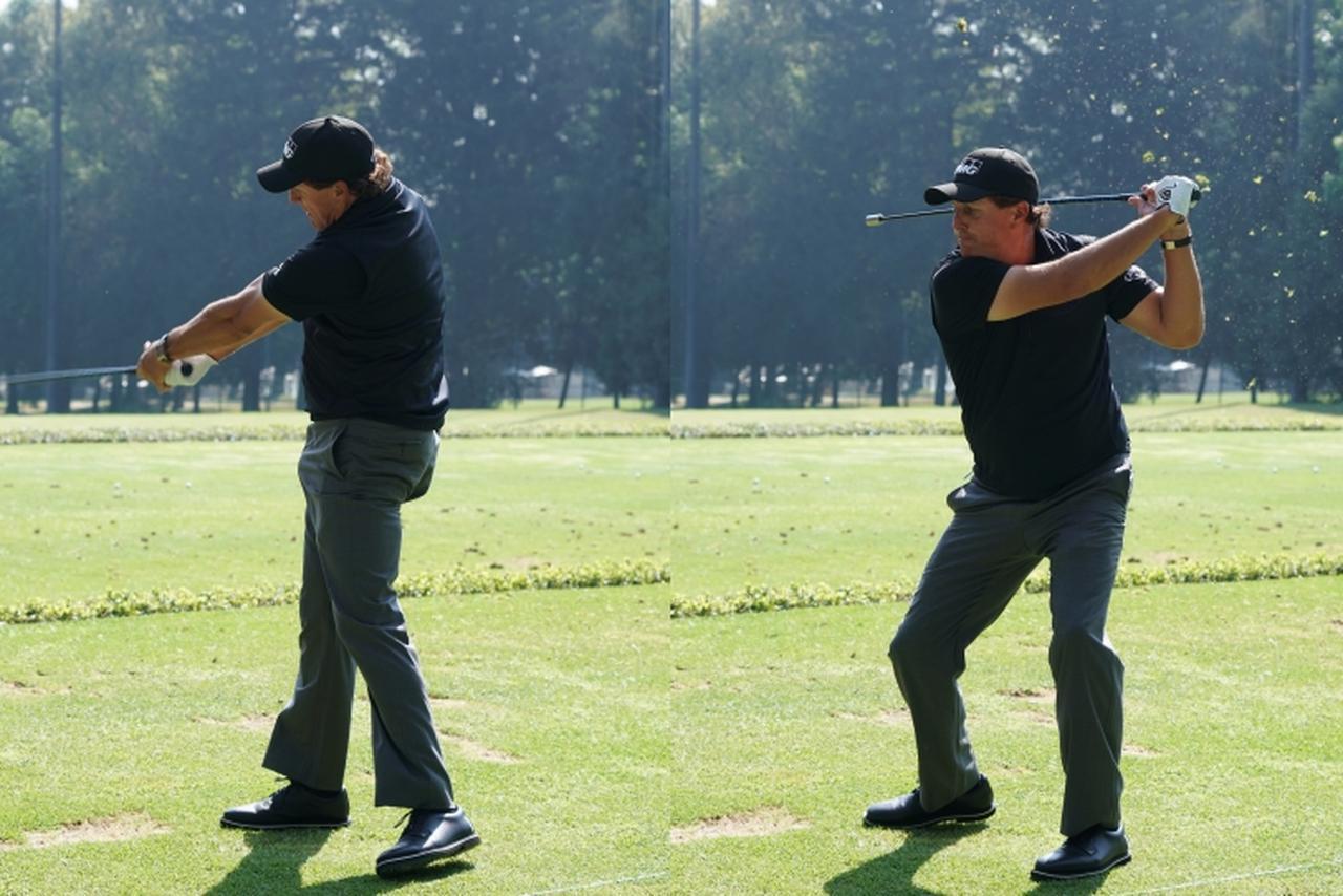 画像: 重い棒を振った後に、軽い棒をビュンビュン振るフィル・ミケルソン