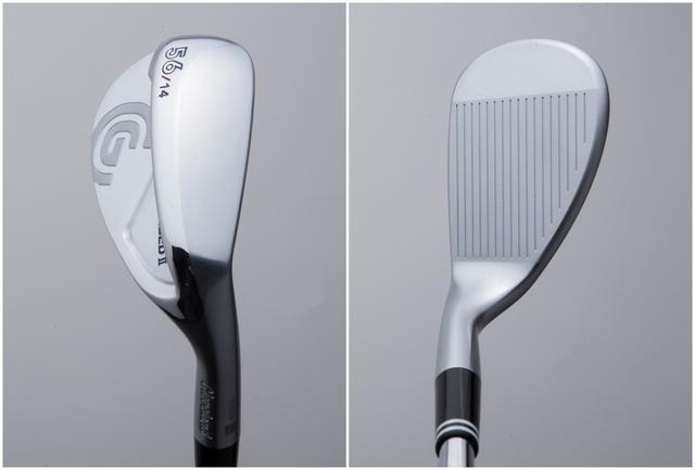 画像: 滑りのいいソール(左)と、ボールを包み込むグース形状(右)。ヘッドが潜りにくく、ボールが拾いやすい