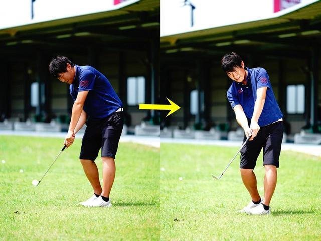 """画像: 切り返しからダウンにかけて、左のお尻を後ろに突き出しながらスウィングするイメージ。体が回転しやすくなり、""""お尻リード""""が体感できる"""