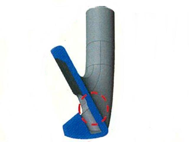 画像: 高強度の軟鉄ボロン鋼を採用したことで打球面裏を薄くできた。反発性能が高い。