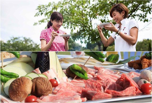 画像: クラブハウス併設のロッジでBBQ。夏が旬の地鮎や高原野菜のサラダがついてボリューム満点