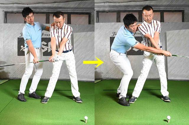画像: 下半身を「動かしているつもり」で、実はあまり動いていないため、結果的に手だけが返る打ち方になっている。ひざの曲げ伸ばし動作を使えていないので、下半身の高さがずっと変わらない