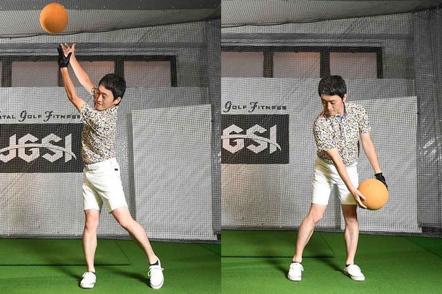 画像: スウィングのスタートは、左足で地面を押して、右斜め上に腰(及び胴体)を切り上げる。この、下半身でスウィングをスタートさせる感覚は、大きなボールを両手で右上に投げるとわかる