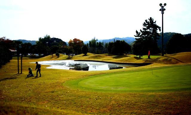 画像: 池あり、ビーチバンカーあり。ご覧のとおり、夜間照明が随所にあり、ナイターゴルフもできる