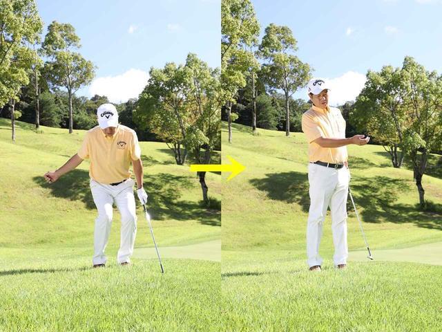 画像: テークバックでひざを曲げて上げ、ダウンスウィングからフォローにかけて伸ばす