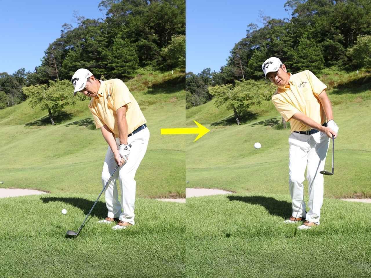 画像: ボールを運ぶポイント~体の回転にそってヘッドを動かす