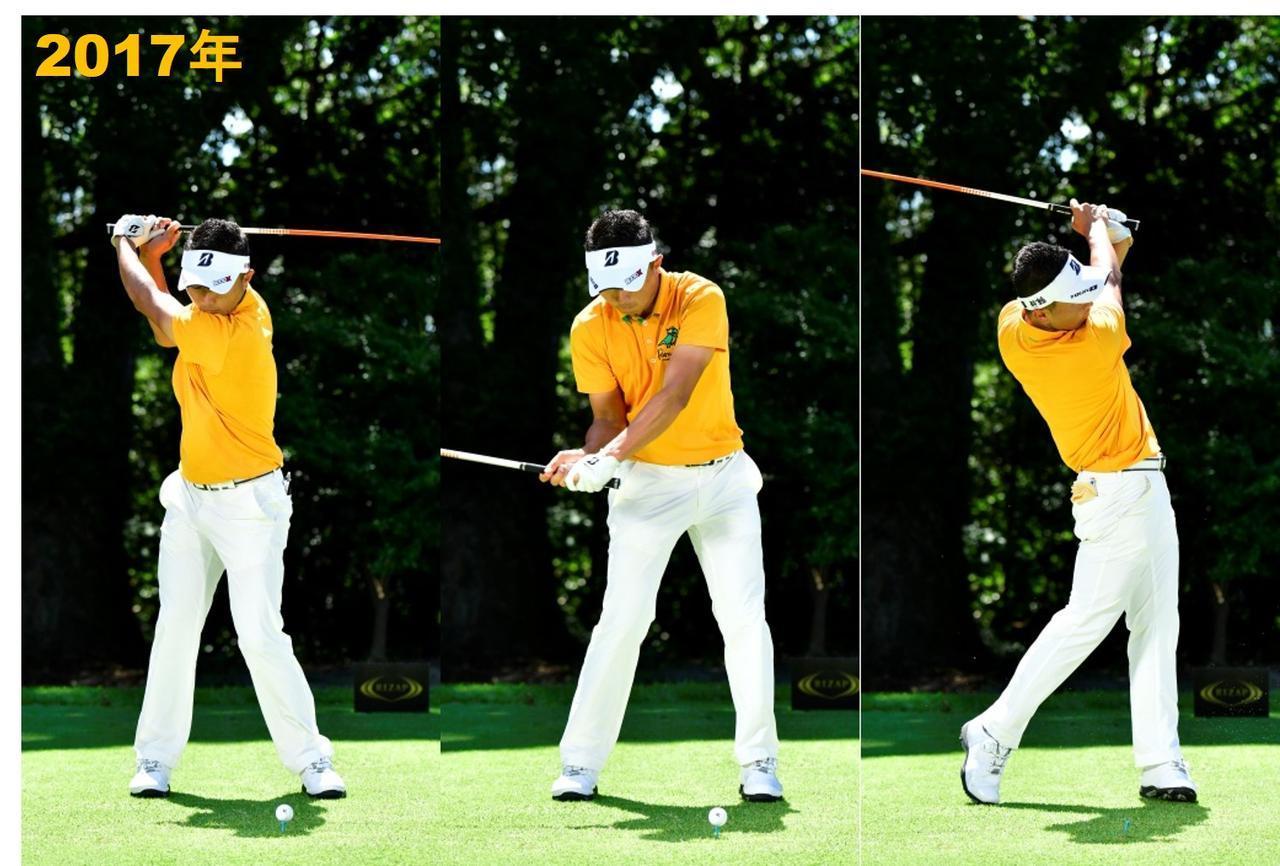 画像: スタンスが狭く、ボールと頭の距離が近い