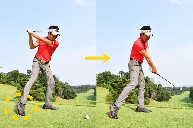 画像: 「右足を引き、右足かかとを浮かせたまま振り抜こう。腕の力を抜いたほうが当たることがわかります」