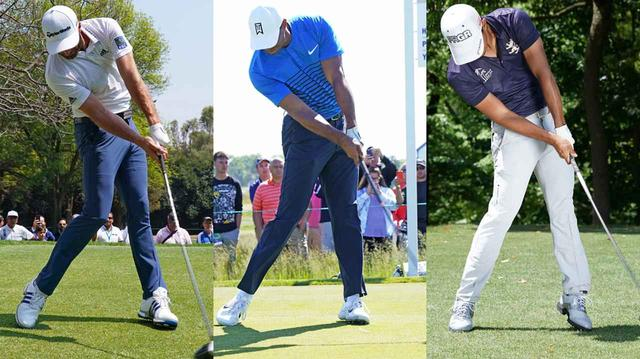 画像: 左からダスティン・ジョンソン、タイガー・ウッズ、小平智