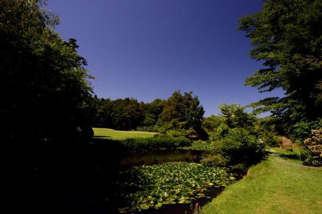 画像: 2番は池が斜めに横たわるプレッシャーホール 118Y(ベントグリーン)