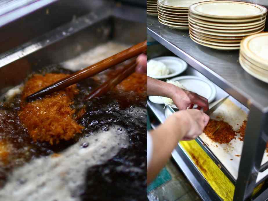 画像: こんもりと盛られたライスの皿に揚げたての大きなカツ