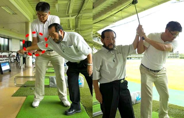 画像: 始動時に右ひじを曲げてクラブを引き上げ、そこから上体を強くねじってトップまで上げています。そうするとダウンスウィングでは、必ず『ねじり戻す』動きが必要になり、これが時折、大きなフックを招くのです」(篠塚先生)